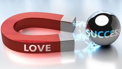Love helps achieving success - pictured as word Love and a magnet, to symbolize that Love attracts success in life and business, 3d illustration