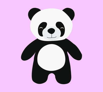 Black and white panda bear stand on pink background.