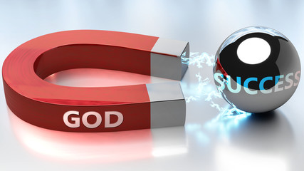 God helps achieving success - pictured as word God and a magnet, to symbolize that God attracts success in life and business, 3d illustration