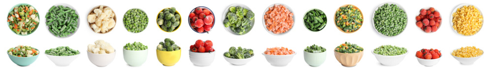 Photo sur Toile Légumes frais Set of different frozen vegetables on white background. Banner design