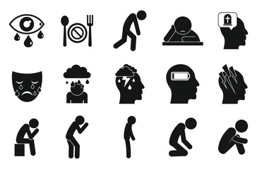 Depression icons set. Simple set of depression vector icons for web design on white background