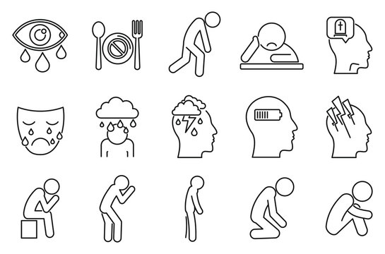Modern depression icons set. Outline set of modern depression vector icons for web design isolated on white background
