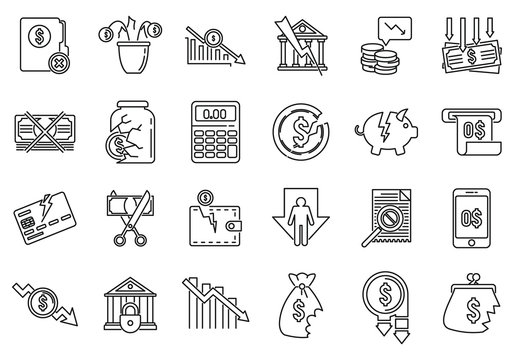 Bankrupt business icons set. Outline set of bankrupt business vector icons for web design isolated on white background
