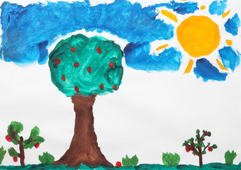 Child's painting of garden on white paper