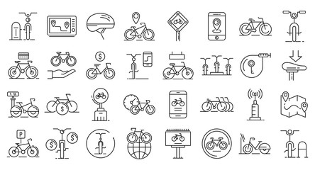 Rent a bike icons set. Outline set of rent a bike vector icons for web design isolated on white background