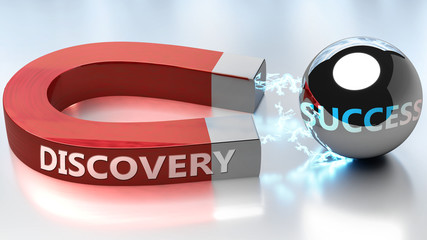 Discovery helps achieving success - pictured as word Discovery and a magnet, to symbolize that Discovery attracts success in life and business, 3d illustration