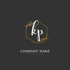 Obraz Handwritten initial letter K P KP for identity and logo. Vector logo template with handwriting and signature style. - fototapety do salonu