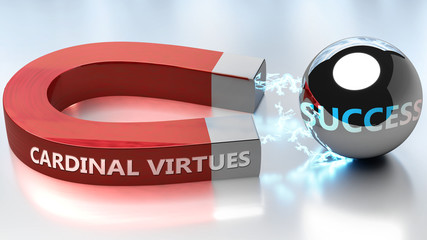 Cardinal virtues helps achieving success - pictured as word Cardinal virtues and a magnet, to symbolize that Cardinal virtues attracts success in life and business, 3d illustration