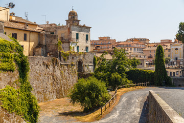 View to medieval castle of Bracciano, Italy