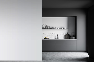 Gray and white kitchen with mock up wall