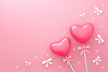 Happy Valentines day background with Love candy and small ribbon or gift style pattern. Romantic heart shape on pink backdrops. 3D rendering.