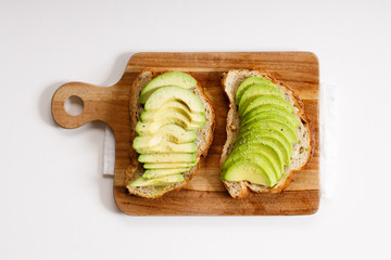 toast with sliced avocado topping