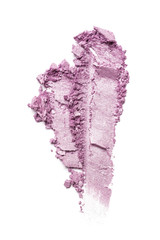 Wall Murals Lilac Smear of bright purple eyeshadow isolated on white