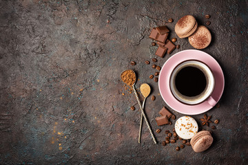 French macaroons with different flavors and cup of coffee Wall mural