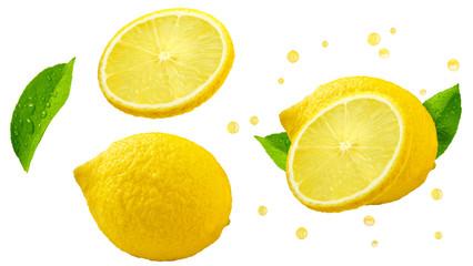 Fresh ripe lemon fruit, slice, leaf, juicy lemon fruit set isolated, white background. Citrus design elements, studio shot, focus stacking. Raw lemon fruits, healthy vegetarian food nutrition clip art