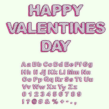 Uppercase and lowercase letters in the style of lol doll surprise. Happy Valentines Day card template.