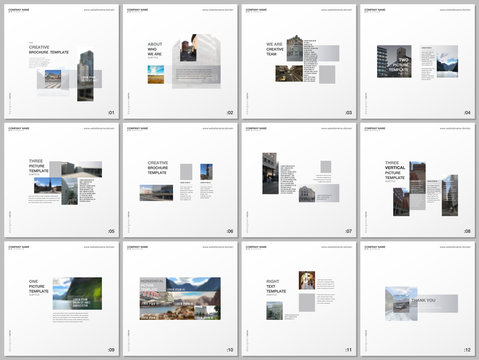 Minimal brochure templates with gray color rectangles, rectangular shapes. Covers design templates for square flyer, leaflet, brochure, report, presentation, blog, advertising, magazine for blogging.