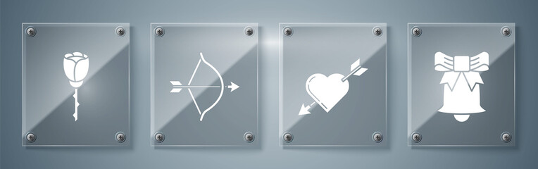 Set Ringing bell, Amour symbol with heart and arrow, Bow and arrow and Flower rose. Square glass panels. Vector