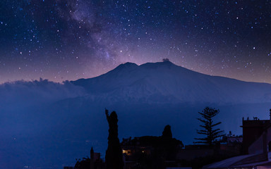 Starry Night over Mt. Etna in Sicily