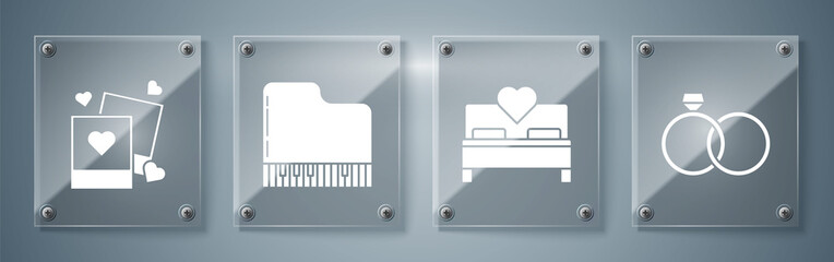 Set Wedding rings, Bedroom, Grand piano and Two blanks photo frames and hearts. Square glass panels. Vector
