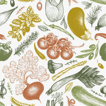 Vegetables hand drawn vector seamless pattern. Retro engraved style illustrations. Can be use for menu, label, packaging, flyer, farm market products.