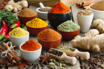 Various aromatic colorful spices and herbs. Ingredients for cooking..Ayurveda treatments. Fotomurales