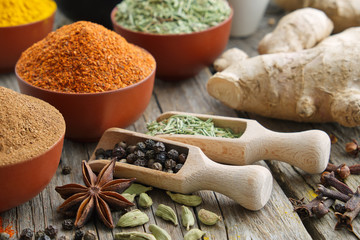 Aromatic spices and herbs. Ingredients for cooking. Ayurveda treatments..