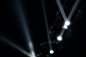 Concert lights at night. background