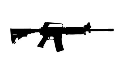 black silhouette of gun on white background