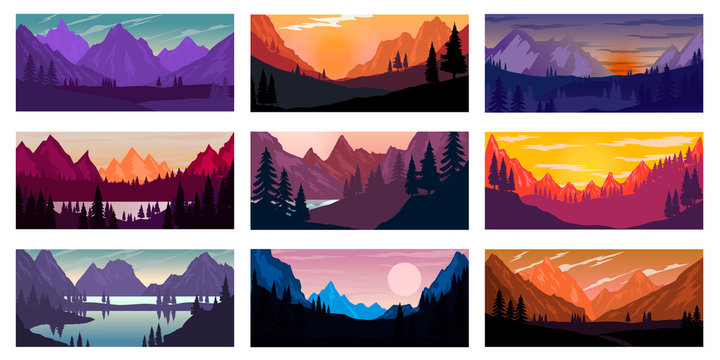 Set of poster template with wild mountains landscape. Design element for banner, flyer, card. Vector illustration