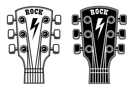 Illustration of guitar head isolated on white background. Design element for poster, card, banner, sign. Vector illustration