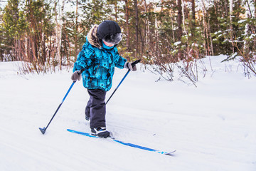 boy skiing in the woods