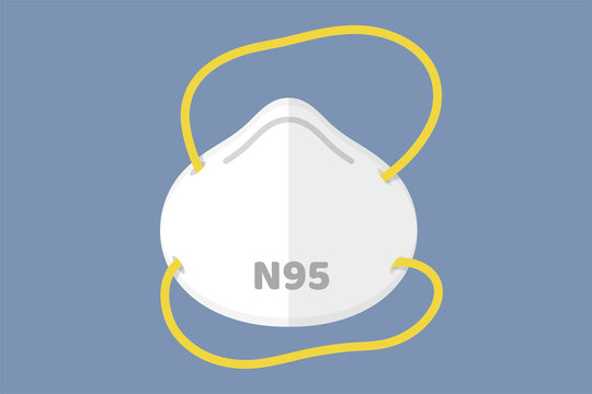 Flat mask vector N95 respirator to prevent toxic fumes and dust between the small size of the air such as PM2.5.