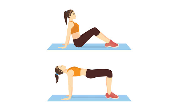 Woman doing the Reverse Plank Bridge exercise in 2 step for guide. Illustration about workout diagram for build.