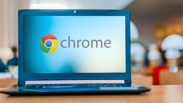 Laptop computer displaying logo of Google Chrome