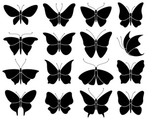 Butterfly silhouettes. Black stencil insect pattern, stylized spring symbol. Wedding decor elements, tattoo wing shapes vector set