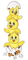 Deurstickers Voor kinderen Cute chickens topic image 4