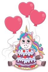 Deurstickers Voor kinderen Unicorn with cake and balloons theme 4
