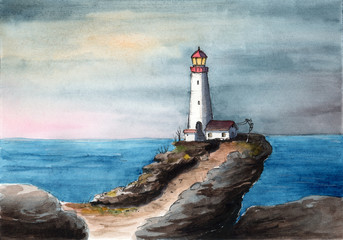 Watercolor picture of  a lighthouse  on the steep cliff with a small house and  blue sea on the background