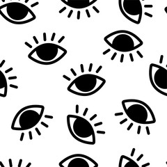 Seamless pattern with black eyes on white background. Eye of Providence. Masonic symbol. All seeing eye. New World Order. Sacred geometry, religion, spirituality, occultism. Illustration.