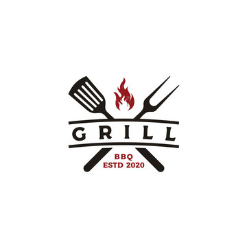 Vintage Grill Barbeque barbecue bbq with crossed fork and fire flame Logo design
