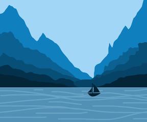 Foto op Plexiglas Blauwe jeans Water below blue mountain landscape with boat graphic illustration