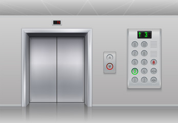 Elevator doors and buttons. Realistic cargo and passenger lift with metal doors, stainless steel buttons and floor indicator. Vector set steel panel with light indicator, lift door