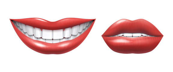 Realistic smile. Woman laughing mouth with white teeth and lips, oral healthcare and make up model. Vector human beauty smile illustration, beautiful girl smiles image on white background