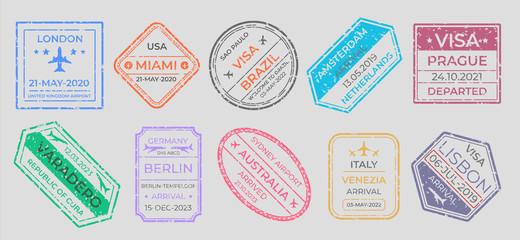 Passport stamps. International travel visa marking, business travel and immigration vintage labels. Vector airport stamp set world city travel arrivals symbol stamping traveling on gray background