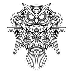 Fotobehang Uilen cartoon owl steampunk illustration and tshirt design