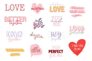 Poster Positive Typography Set of cute romantic typography quotes for Valentines Day. Romantic typography perfect for prints. Editable vector illustration.