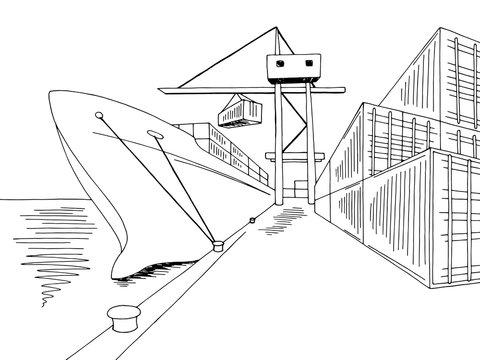 Port loading dry cargo ship graphic black white sea landscape sketch illustration vector