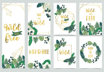 Wall Mural - Collection of jungle background set with leaf.Editable vector illustration for birthday invitation,postcard and sticker.Wording include wild and free