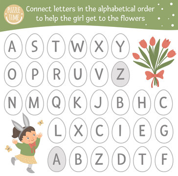 Easter ABC game with cute characters. Spring alphabet maze activity for preschool children. Choose letters from A to Z to help the girl get to the flowers..